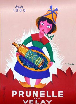 Manifesto pubblicitario Prunelle du Velay Liquore (anni '50)