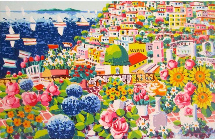 Athos Faccincani, Vaso con girasoli a Positano