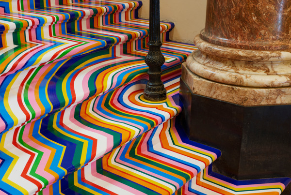 Jim Lambie, dettaglio Zobop Stairs, Royal Academy of Arts, London (2015)