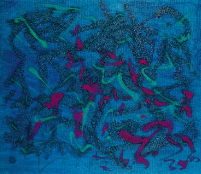 Giulio Turcato, Vibrazione Blu, studio sui pigmenti fosforescenti (1989)