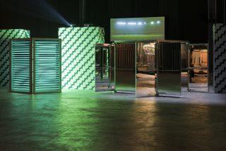 Carsten Holler, Zollner Stripes (2001), Neon Elevator (2005) e Revolving Doors (2016), Doubt, Hangar Bicocca, Milano (2016)