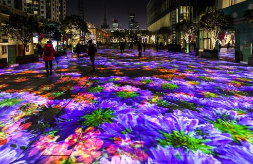 Miguel Chevalier, Flower Power, Digital Water Lilie, South Piazza, Jing and Kerry Centre, Shanghai (2017)