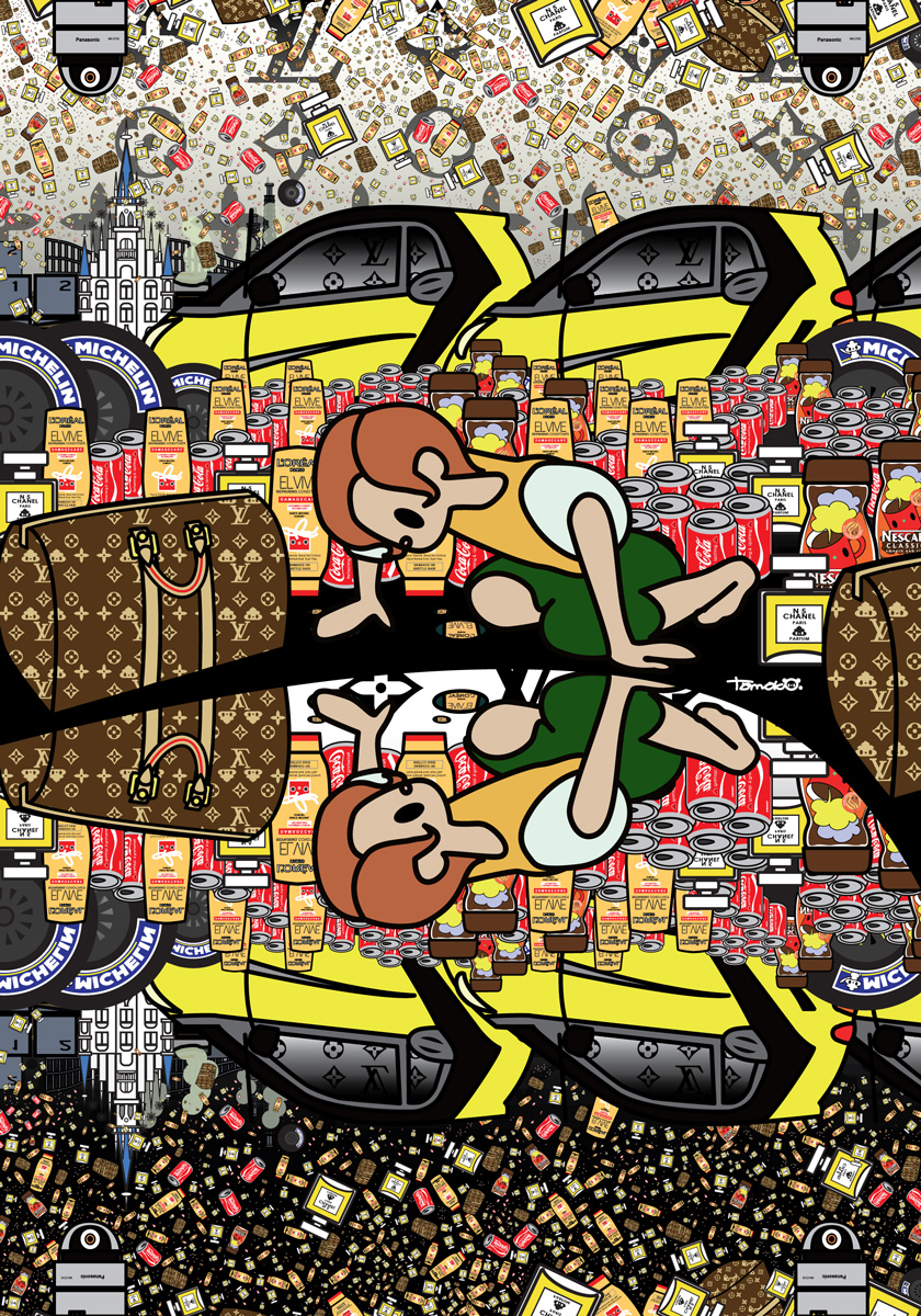 Tomoko Nagao, Caravaggio, Narcissus with Louis Vuitton, L'Oreal, Coca Cola, Nescafè, Michelin, Smartcar, Panasonic and Chanel (2015)