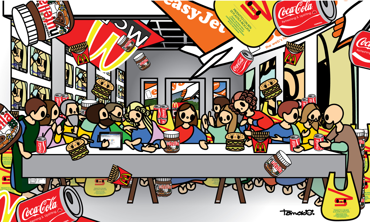Tomoko Nagao, Leonardo da Vinci, The last Supper with Mc, Esselunga, Easy Jet, Coca Cola, Nutella, Goggle (2014)