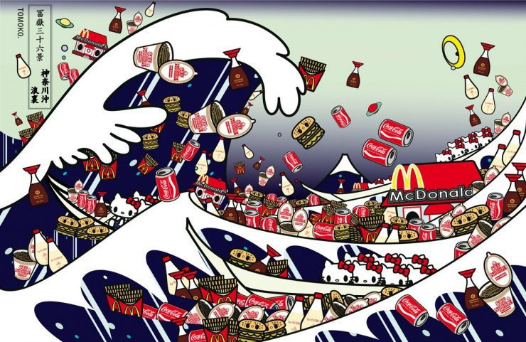Tomoko Nagao, The great wave of Kanagawa with Mc, Cupnoodle, Kewpie, Kikkoman and Kitty (2012)
